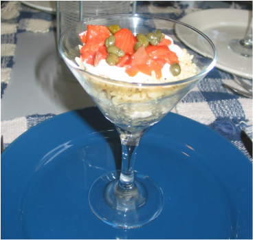 Martini Glass filled with rice and smoked salmon