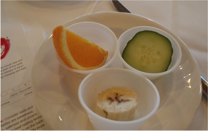 Orange slice, cucumber slice and banana slice used as examples to prepare sensory perception of texture Picture