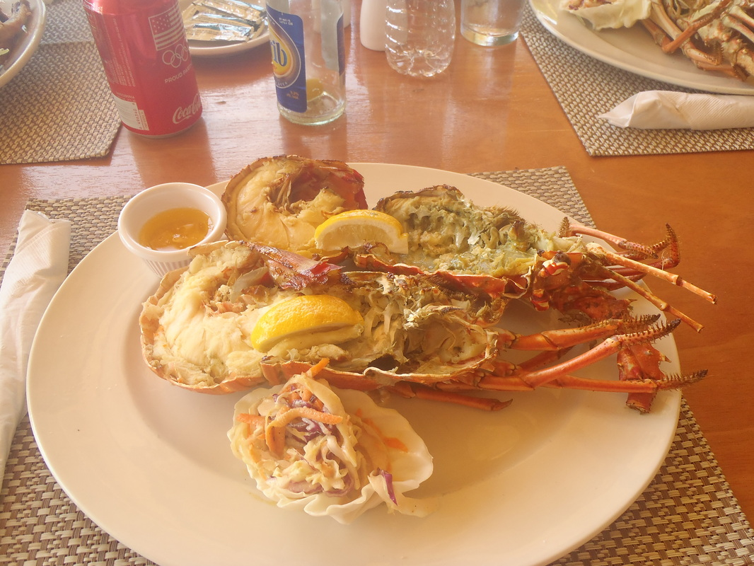 Lobster meal plated at Hank's Island Carousel, Shoal Bay, Anguilla Picture