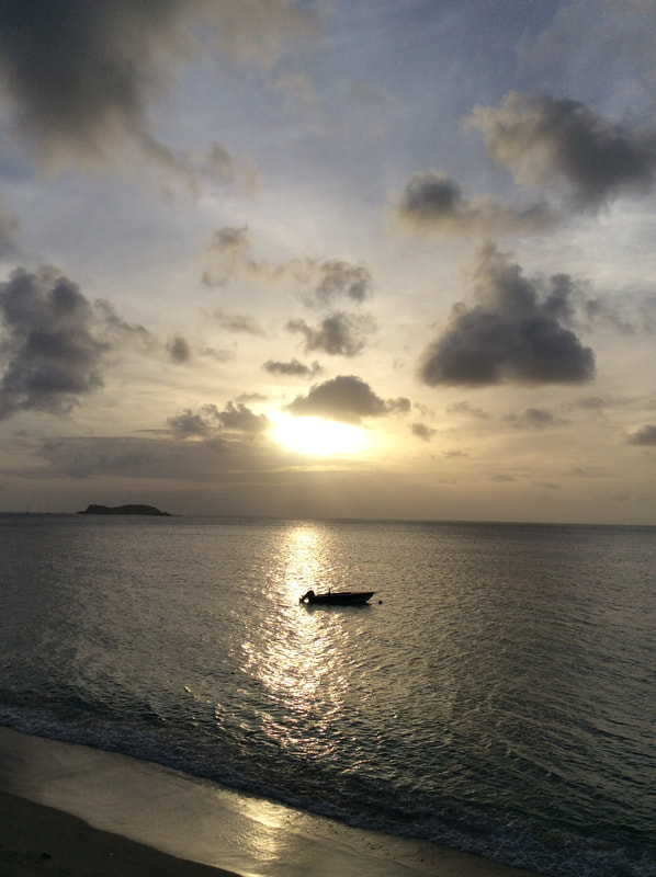 sunset from the balcony at the Mermaid Hotel in Carriacou