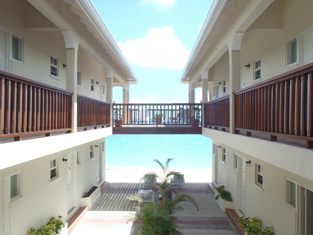 the interior corridor looking out to the ocean at the Mermaid Hotel in Carriacou