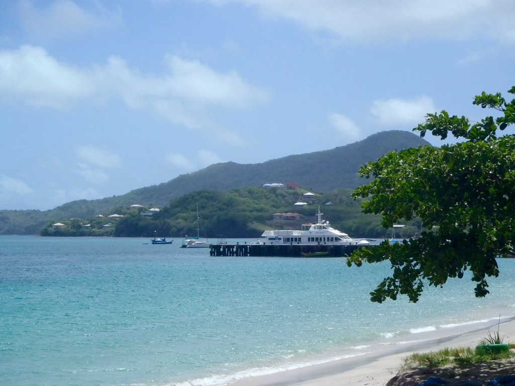 The ferry pictured from the Mermaid Hotel in Carriacou